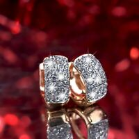 18k yellow gold made with Swarovski crystal huggies fashion earrings VERY SMALL