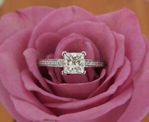 1.50 Ct Princess Cut Diamond Engagement Ring 18K Real White Gold Size N O 1/2 P