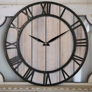 Large Wall Clock Vintage Wooden Farmhouse Decorative Wall Clock With Metal Frame