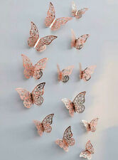 12 Rose Gold Butterfly Wall Stickers, 3D Metallic Decals Room Decorations Decor