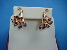 14K ROSE GOLD VICTORIAN FLOWER WITH RUBY CLIP-ON EARRINGS,9.5 GRAMS,NON-PIERCED