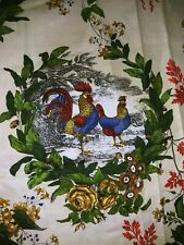 "Cock a Doodle Doo farm chickens eggs roosters Cotton fabric 41 x 36"" 🐔🌸"