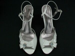 CLARICE IVORY SATIN LADIES FORMAL DRESS HEELS SHOES WEDDING PARTY LYDIE SIZE 10