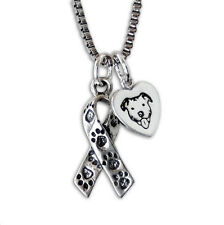 Awareness Ribbon with Paw Prints & Pit Bull Heart Sterling Silver Necklace S2