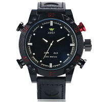 AMST LED Digital Date Black Genuine Leather Band Analog Men Quartz Wrist Watch