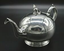VINTAGE ORNATE FRENCH CHIC ROUND STYLE TEAPOT CAST EAGLE FINIAL SILVER PLATED