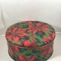 Vintage Round Poinsetta Christmas Tin