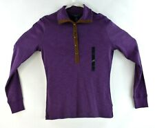 Chaps Denim Womens Polo Long Sleeve Purple Size Small New Shirt