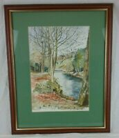 Sheila Ellam Framed Watercolour Original Dimmingsdale Staffordshire River Scene