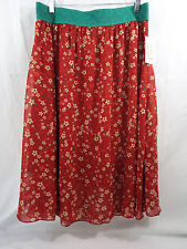 Women's LuLaRoe Lola Skirt X LARGE Muted Red Green Off White Floral  NWT