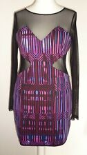 House of Dereon Mesh & Jersey Cut Out Dress Pink Purple 14  L Sexy Glam Clubbing