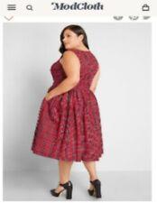 Modcloth Liza Luxe Red Plaid Dress Size Xxl