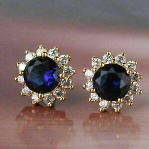 3Ct Round Cut Blue Sapphire & Diamond Halo Stud Earrings 14K Yellow Gold Finish