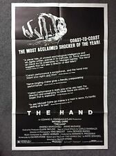 OLIVER STONE 1981 MOVIE POSTER THE HAND Rare with reviews MICHAEL CAINE 41 X 27