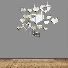 Argento 3D Specchio Amore Cuori Sticker Adesivi Murali Decal Soggiorno