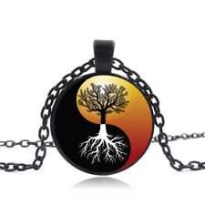 Yin Yang tree of Life Black Glass Cabochon Necklace chain Pendant wholesale