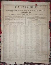 BROADSIDE Catalogue Faculty Students YALE COLLEGE Signed CHAUNCEY BULKLEY 1816