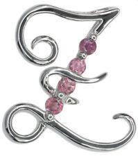 Piedras Preciosas Turmalina Rosa Letra Z de plata esterlina colgante + cadena