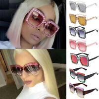 Oversized Large Square Frame Bling Rhinestone Sunglasses Women Fashion Shades JT