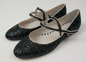 Lulu Guiness Black Sparkle Glitter Buckle Strap Flats Leather Size 39 UK 6