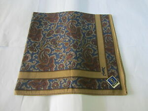 """USED BROWN  PAISLEY PATTERN COTTON 18"""" POCKET SQUARE HANDKERCHIEF  FOR MEN"""