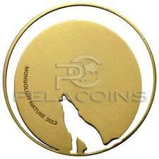 Mongolia 2013 500 Togrog Mongolian Nature WOLF - 1/2Oz Gilded Silver Coin