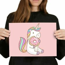 A4 - Cute Pink Unicorn Donut Horse Girls Poster 29.7X21cm280gsm #8840