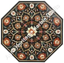 """36"""" Black Marble Coffee Dining Table Top Marquetry Handmade Decorative Arts"""