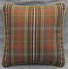 "NEW Corded Pillow made w Ralph Lauren Rock River Green & Brown Plaid Fabric 12"""