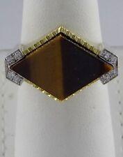 Mens 14K Yellow Gold Marquise Tigers Eye Diamond Textured Custom Heavy Ring