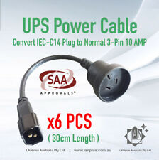6 x IEC C14 to 3-pin Australia Power cable UPS to normal PC plug 30cm