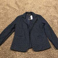 nanette lepore Womens Open Front Blazer Blue size L Nwt A8