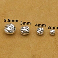 20 Sterling Silver Twist Corrugated Round Beads 925 Silver Spacer Beads