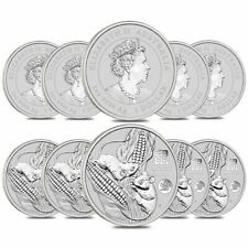 Lot of 10 - 2020 1 oz Silver Lunar Year of The Mouse / Rat Dragon Privy BU