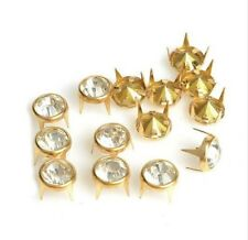 "Pkg of 10 Golden ROUND CRYSTAL 4-spike 3/8"" (10mm) Studs Leather Crafts"