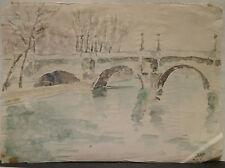 """Dessin Original Aquarelle André FILDIER (1928-2001)  """" Pont-Neuf """" - F26"""