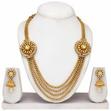 Indian Bollywood Fashion Gold plated Necklace Earrings Temple Jewelry 4 Layer