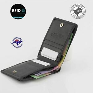Men's Leather Wallet RFID Blocking Bi-fold Anti Theft Security Genuine Leather-N