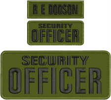 SECURITY OFFICER EMBROIDERY PATCH 4X10 AND 2X5  hook on back OD/BLK