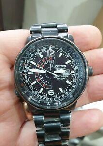 Citizen Eco Drive Nighthawk Pilot Watch B877 Black Stainless Steel EcoDrive