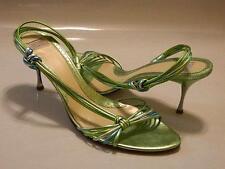 ARTURO CHIANG April Womens Sandals Shoes BRAZIL Leather Metallic Green Sz 9M EUC