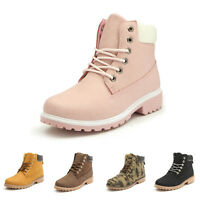 Pop Women's Lady Fur Lined Winter Warm Boots Flat Lace Up Snow Ankle Boots Shoes