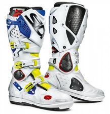 NIB SIDI MOTORCYCLE BOOTS CROSSFIRE 2 SRS 9.5 $495 Yellow Fluo White Blue
