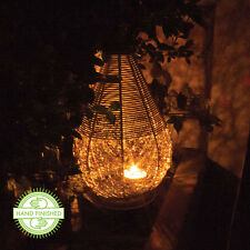 WIRE MESH CANDLE LANTERN SPHERE CONE LAMP METAL MOOD LIGHT GARDEN ORNAMENT