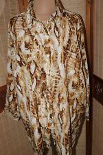Damen  Bluse leicht locker gr  58   77 cm weit  Knitterfrei Braun -gelblich