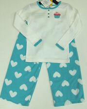 CARTER'S FILLE 2 Pce Cake Pyjamas Set Blanc Top, Bleu Polaire Pantalon Taille 2 Ans BNWT