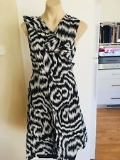 Ladies Black & White STITCHES PETITES Dress Size 12 Wrap Cotton Tie Up Summer