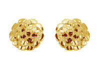 10K Gold Authentic Nugget Round Diamond Cut Stud Earrings for Men Women