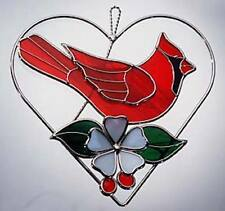 Stain Glass Cardinal on Heart Ring