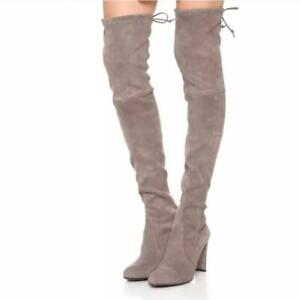 $798 - Stuart Weitzman Highland Topo Stretch Suede Over the Knee Boots 9.5